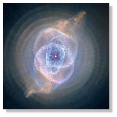 La nébuleuse planétaire NGC 6543 observée par le télescope spatial Hubble. Ce magnifique spectacle est créé par une étoile ordinaire en fin de vie qui éjecte ses couches externes.© NASA/ESA/HEIC/STScI/AURA