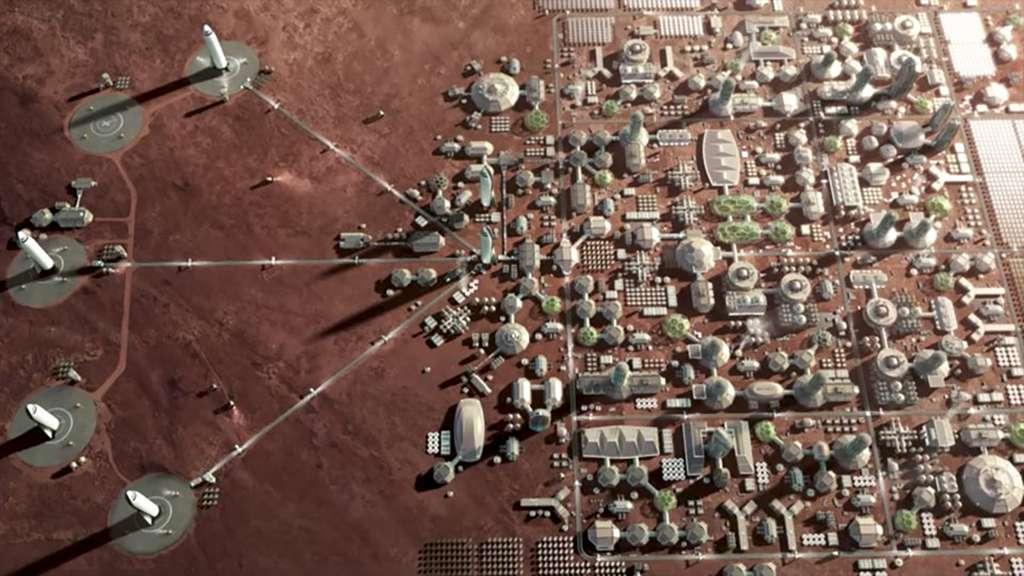 Concept de ville martienne envisagée par SpaceX. © SpaceX