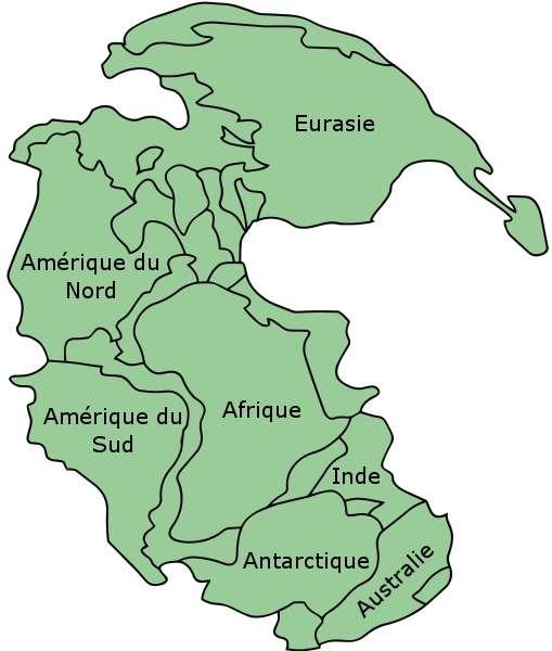 Présentation de la Pangée avec les noms des continents ou régions continentales actuels. © Kieff, Wikimedia commons, cc by sa 3.0
