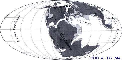 Carte paléogéographique extraite de l'ouvrage Les mondes disparus, atlas de la dérive des continents, d'E. Buffetaut et J. Le Loeuff. Les points représentent les principaux gisements de mammifères fossiles. © J.-L. Hartenberger