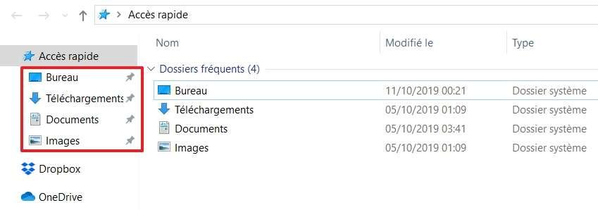 Certains dossiers sont déjà épinglés dans l'Accès rapide. © Microsoft