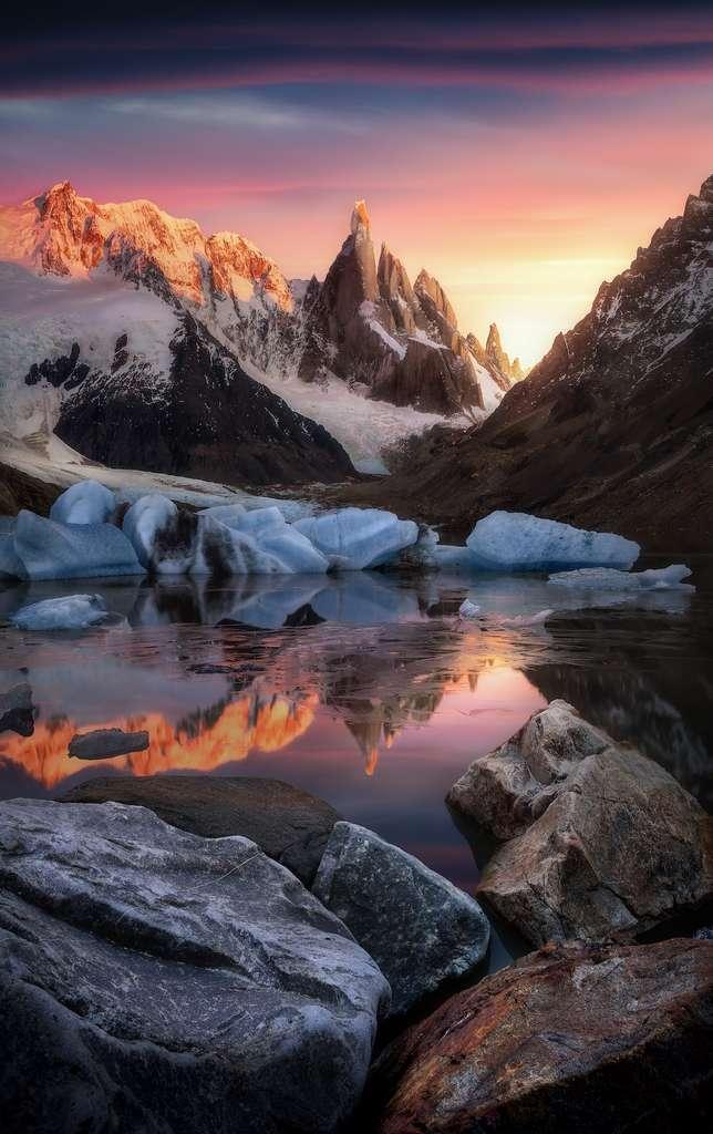 La lance d'Odin, Laguna Torre, El Chalten, Patagonie, Argentine