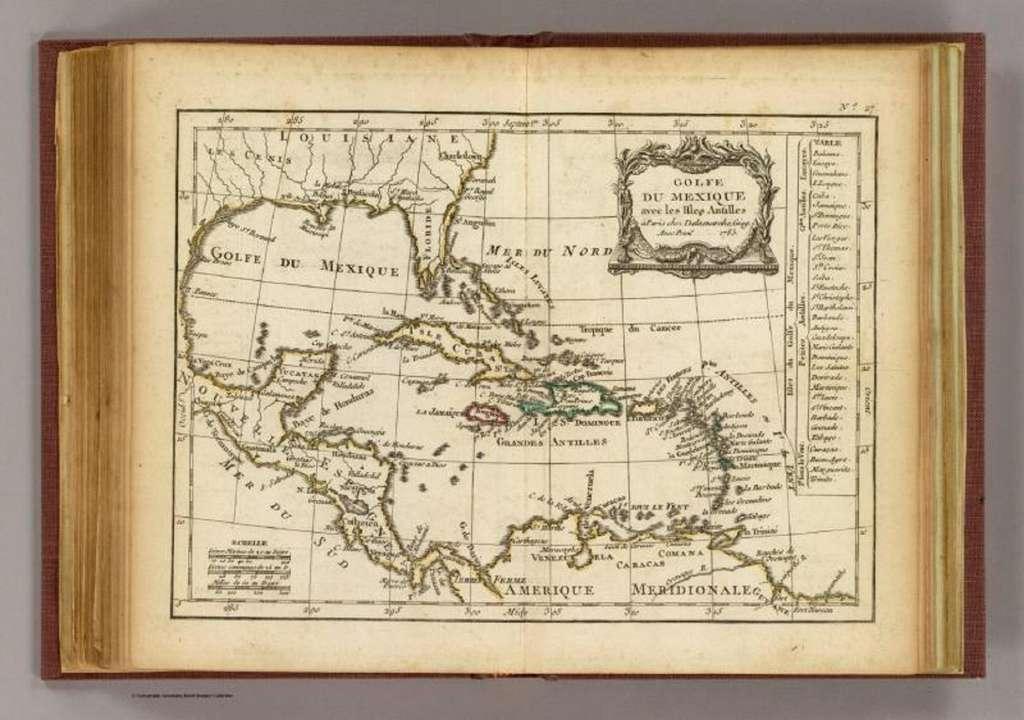 Carte du golfe du Mexique avec les îles des Antilles datée de 1783. Cartothèque du laboratoire Ceregmia, campus de Martinique Schœlcher. © Caribbean Atlas