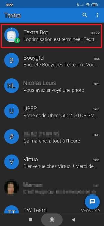 La liste de vos SMS s'affiche à l'écran. © Delicious Inc.