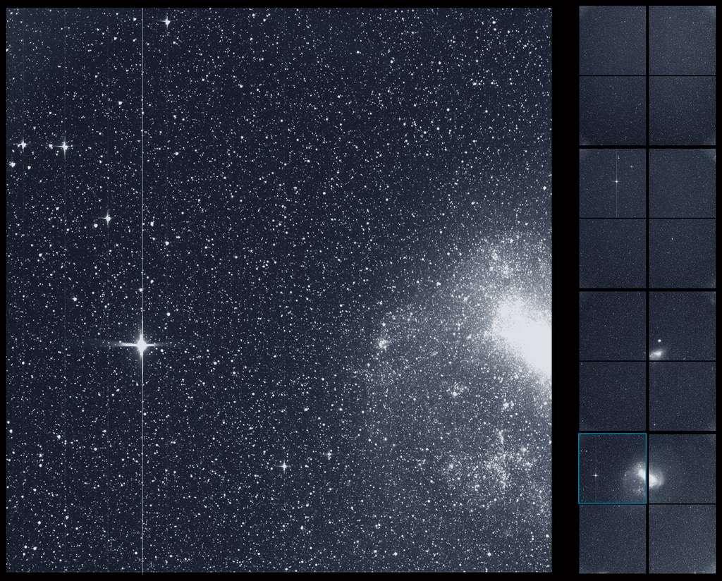 Première lumière du satellite Tess, lancé le 18 avril 2018. Cette image montre les prises de vues de ses quatre caméras grand champ réalisées durant 30 minutes, le 7 août. On reconnaît notamment le Grand et le Petit Nuage de Magellan, deux galaxies naines, satellites de la Voie lactée. Deux étoiles (R Doradus et Beta Gruis) sont si brillantes qu'elles ont surexposé une ligne verticale. © Nasa, MIT, Tess