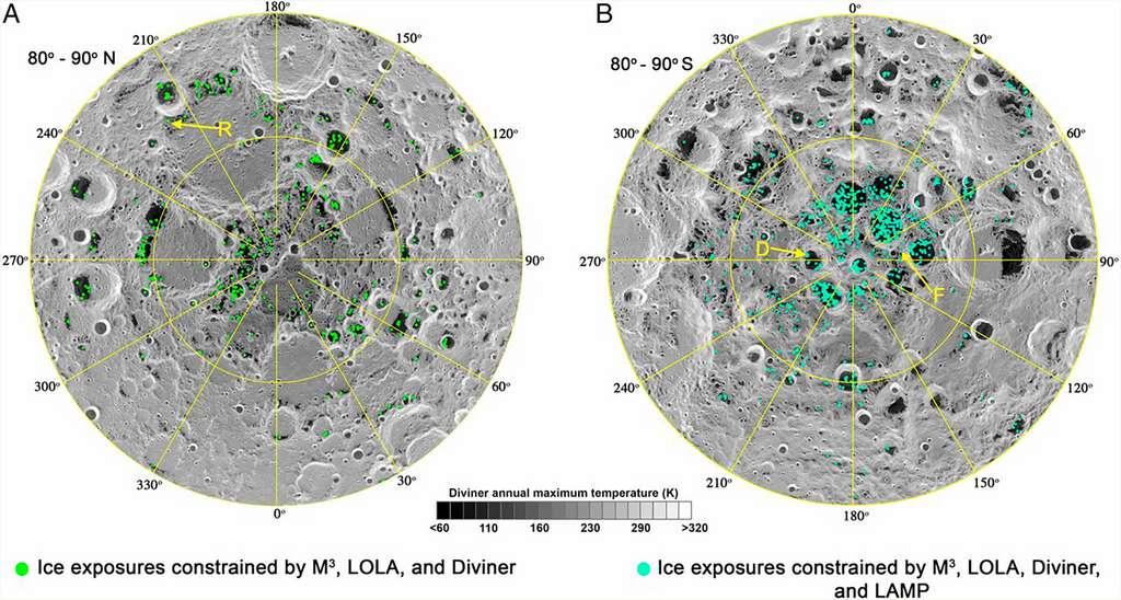 État des dépôts connus de glace d'eau aux pôles de la Lune recensés par la sonde Lunar Reconnaissance Orbiter de la Nasa. © Nasa, Lunar Orbiter Laser Altimeter Science team