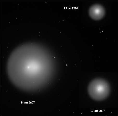 Augmentation de luminosité entre le 27 octobre (en bas à droite) et 31 octobre 2007 (à gauche). Par Chamois.