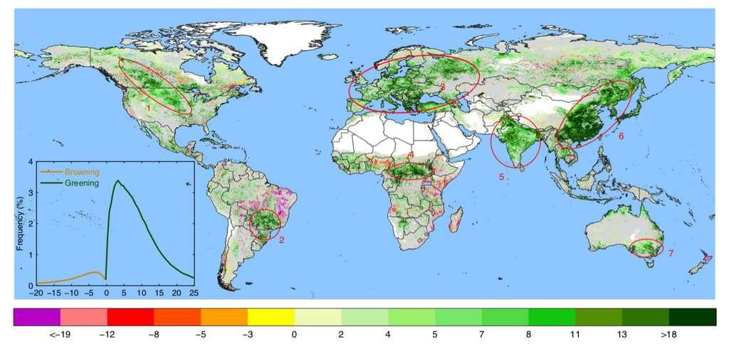 Cette carte représente les changements de l'utilisation des sols sur la planète. Les zones blanches correspondent aux régions recouvertes de glace, aux déserts ou aux zones urbanisées. Les couleurs (violet à vert foncé) illustrent la diminution ou l'augmentation de la couverture végétale. Les sept cercles rouges illustrent les principaux endroits du verdissement. © Chi Chen et al, Nature Sustainability, 2019