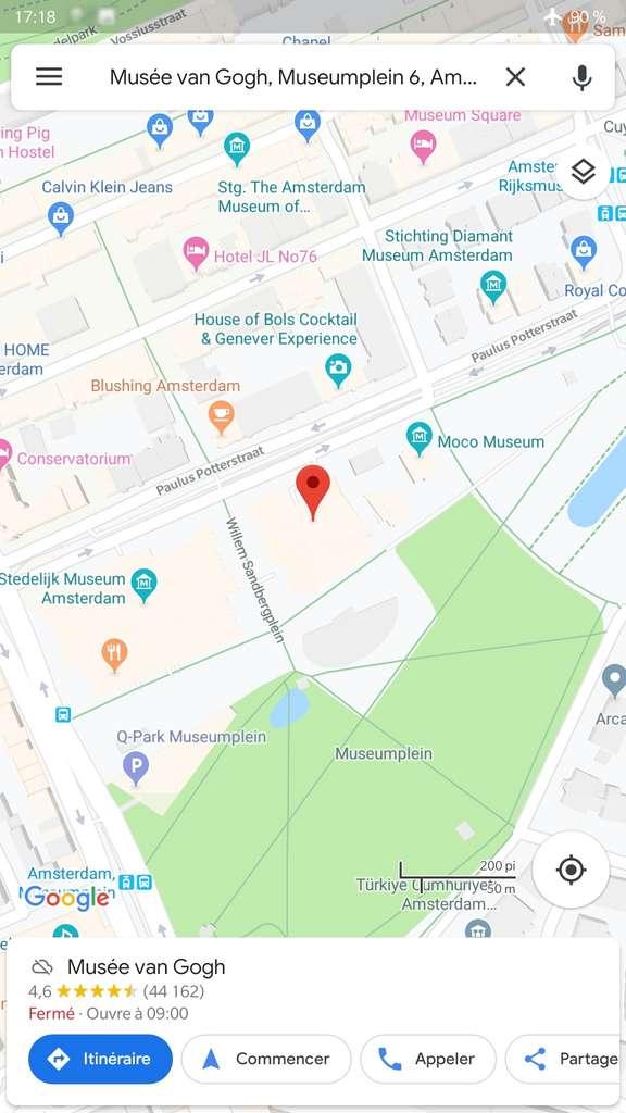 Affichage du centre d'intérêt sur la carte. © Google Maps