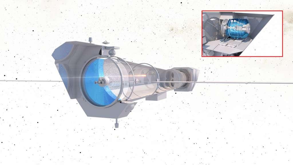 Études conceptuelles du satellite Athena. L'encadré montre la chaîne cryogénique de l'instrument du spectromètre X-IFU. © ESA, Irap