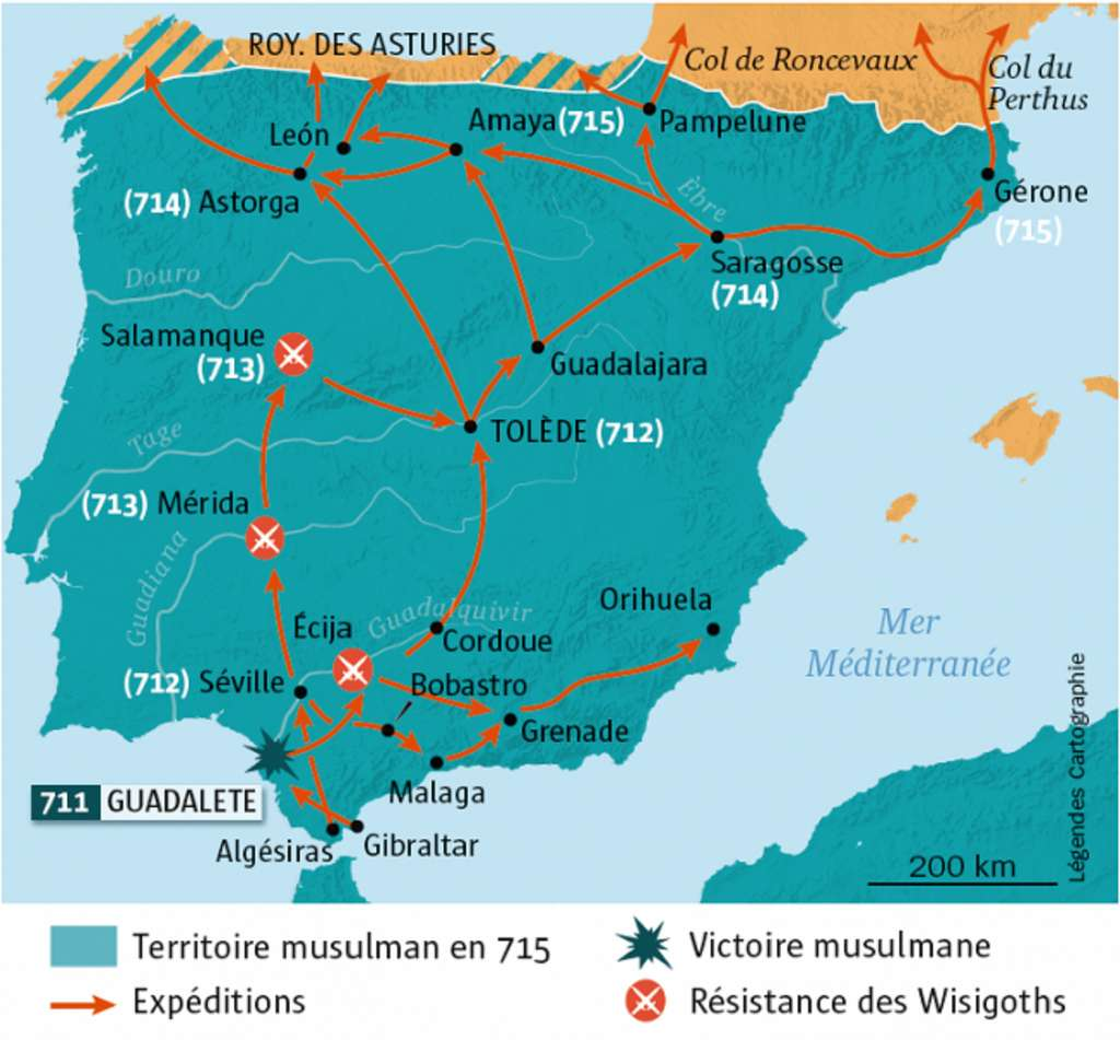 """Carte de la péninsule ibérique conquise par les musulmans entre 711 et 715, dans l'article """"Au temps d'Al Andalus"""" par Gabriel Martinez-Gros, Les Collections de l'Histoire, n° 79. © L'Histoire."""