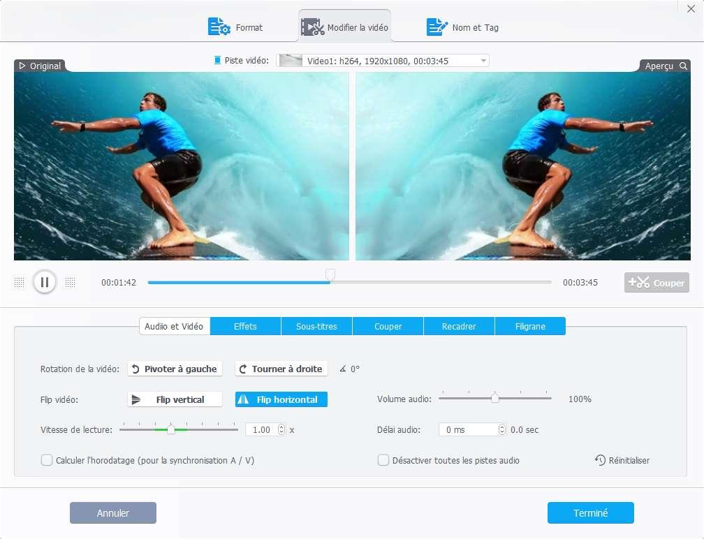 VideoProc dispose d'une fonction de stabilisation. © VideoProc