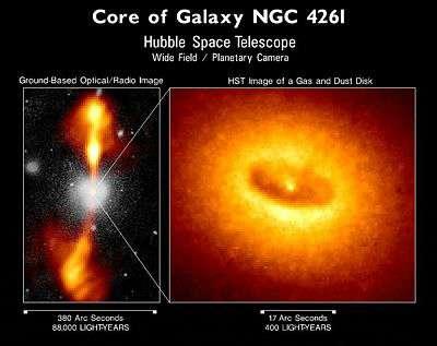 Une image prise par Hubble du disque de gaz et de poussière dans la galaxie NGC 4261. © HST/Nasa/ESA