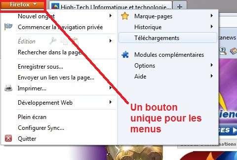 Un bouton unique permet désormais d'afficher ou d'escamoter tous les menus du navigateur. © Mozilla