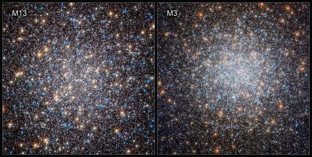 M3 contient environ un demi-million d'étoiles et se trouve dans la constellation des Chiens de chasse. M13 – parfois connu sous le nom de Grand amas globulaire d'Hercule – contient un peu moins d'étoiles, seulement plusieurs centaines de milliers. Les naines blanches sont souvent utilisées pour estimer l'âge des amas globulaires, et donc une quantité importante de temps du télescope Hubble a été consacrée à l'exploration des naines blanches dans des amas globulaires anciens et densément peuplés. Hubble a observé directement des naines blanches dans des amas d'étoiles globulaires pour la première fois en 2006. © ESA, Hubble & Nasa, G. Piotto et al.