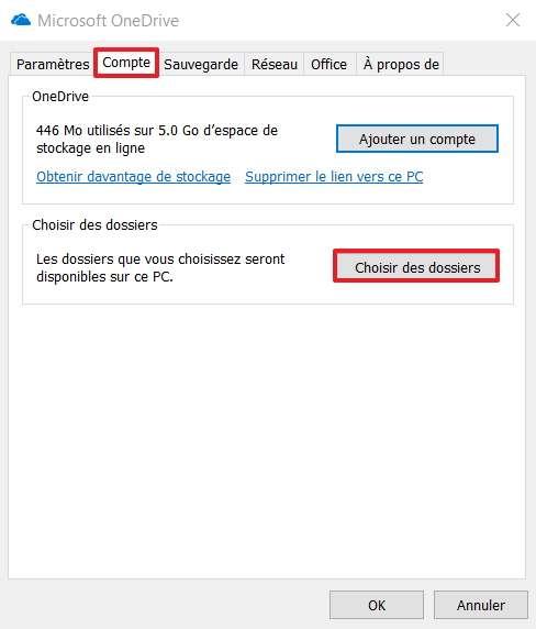 Cliquez sur « Choisir des dossiers » dans l'onglet « Compte » des paramètres OneDrive. © Microsoft