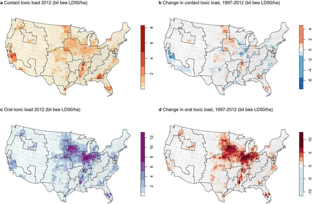 Répartition par région de la charge toxique par contact (a) et voie orale (c) en 2012, puis leur évolution catégorisée par contact (b) et voie orale (d) entre 1997 et 2012. La charge toxique a été normalisée par la superficie totale de la région, pour tenir compte de la variabilité des tailles. On note que les données utilisées pour la Californie (en bas à gauche) excluent les insecticides appliqués sur les semences (dont les néonicotinoïdes). © Margaret Douglas et al., Scientific Reports