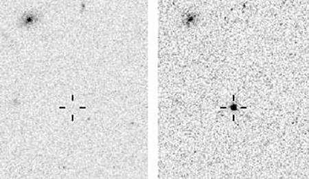 L'objet observé par Hubble, à droite durant son maximum d'éclat. Crédit Université Berkeley