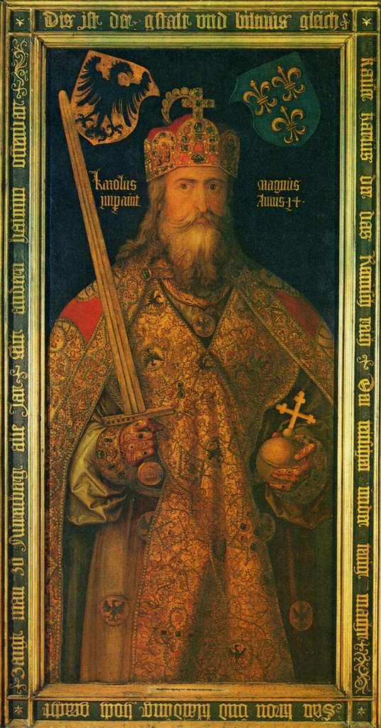 Portrait de Charlemagne réalisé pendant la Renaissance : l'empereur y est idéalisé et représenté comme père de l'Allemagne et de la France. © DR