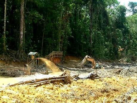 Guyane, pelle mécanique et lance à eau, orpaillage illégal.