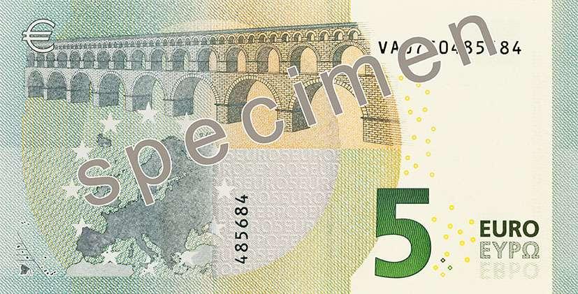 La première lettre figurant devant la série de 10 chiffres désigne l'usine où a été imprimé le billet en euros. Ici, la lettre V désigne la Maison royale de la monnaie à Madrid (Espagne). © BCE