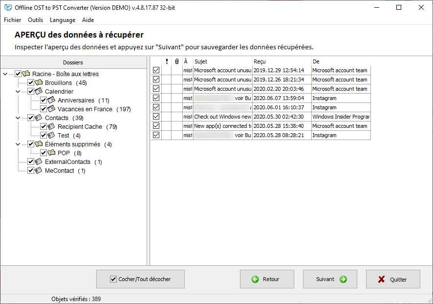 Sélectionnez les données à sauvegarder. © OSTtoPST.online