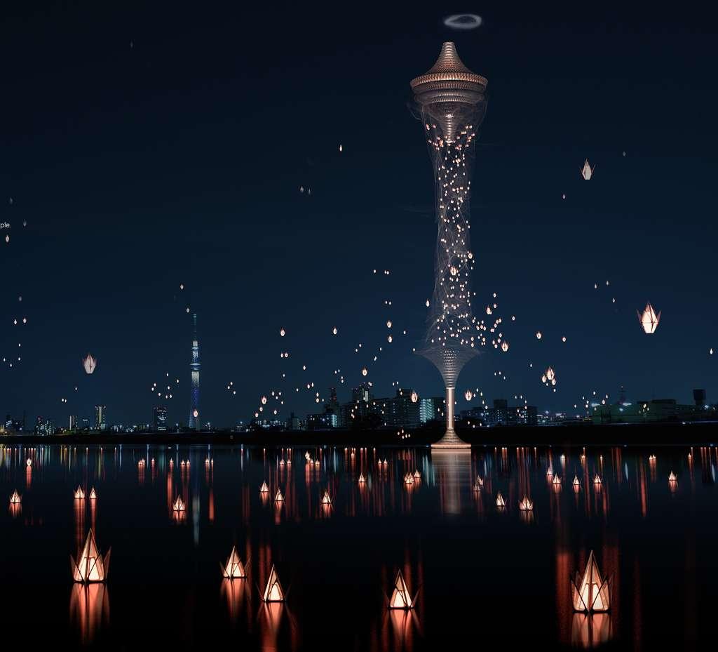 Ce gratte-ciel virtuel est constitué de lanternes volantes contenant l'urne des défunts. © Yassin Nour Al-tubor, Fawzi Bata, Boran Al-Amro, Yazeed Balqar, eVolo