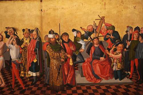 La Flagellation et le Couronnement d'Épines (1465) de Gaspard Isenmann, au musée Unterlinden. © Isobrown, Flickr, licence Creative Common (by-nc-sa 2.0)