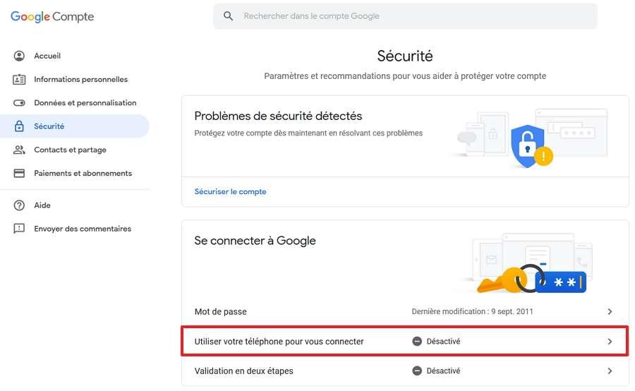 Cherchez l'option « Utiliser votre téléphone pour vous connecter » et cliquez dessus. © Google