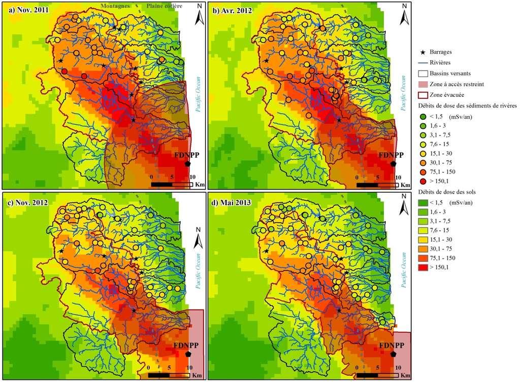 Série de cartes retraçant l'évolution temporelle de la pollution radioactive dans les sols et les sédiments déposés par les cours d'eau dans la zone la plus contaminée de la préfecture de Fukushima. Les points colorés indiquent les débits de dose relevés au niveau des laisses de crue déposées par les rivières ; les niveaux de couleur du fond de carte correspondent aux niveaux relevés dans les sols par les autorités japonaises. La zone à accès interdit ou restreint est circonscrite en rouge. La centrale de Fukushima est représentée par le point noir en bas à droite (Fukushima Daiichi Nuclear Power Plant, FDNPP). © CEA, LSCE