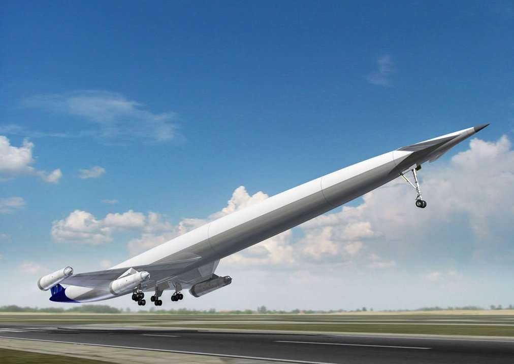 L'avion hypersonique A2 au décollage. Il disposerait de réacteurs de type Scimitar, qui brûleraient de l'hydrogène (embarqué, sous forme liquide) et l'oxygène de l'air, lui assurant une vitesse de croisière de Mach 5. On remarque l'absence de hublots. © Reaction Engines