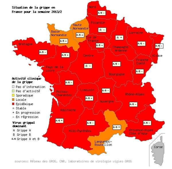 Comme la semaine passée, seules trois régions sont en orange : la Normandie réunifiée et le Languedoc-Roussillon. Le reste de la France est toujours dans le rouge. © Grog