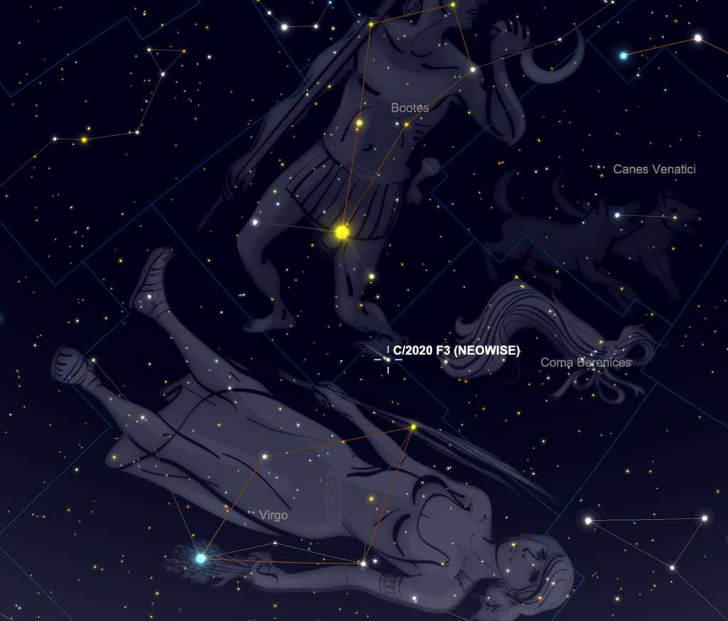 Les 9 et 10 août, la comète Neowise est visible entre les étoiles brillantes Arcturus et Vindemiatrix. © SkySafari