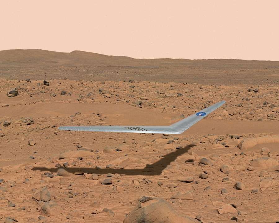 Trouver de l'eau et de la glace sur Mars demeure une préoccupation essentielle de la Nasa et des drones tels que Prandtl-D pourraient fortement y contribuer. © Nasa