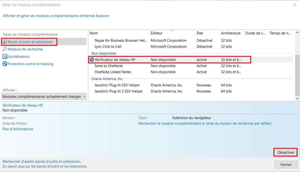 Chaque module peut être désactivé manuellement. © Microsoft