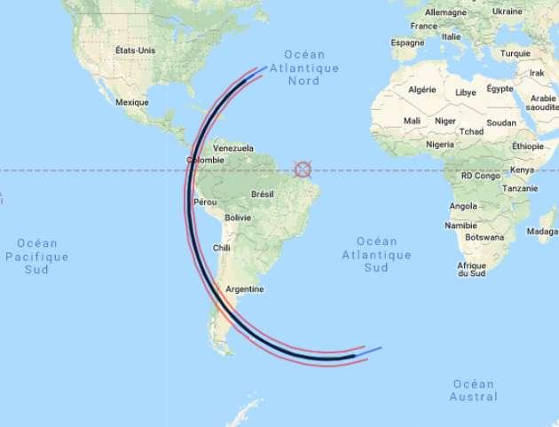 Zone de visibilité de l'occultation de Sirius par l'astéroïde 4388 Jürgenstock prévue dans la nuit du 18 au 19 février 2019. © Capture d'écran, Interactive GoogleMap of Shadow Path, Breit Ideas Observatory