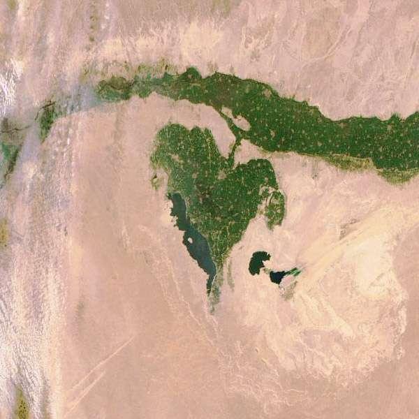 Construit par Thales Alenia Space, Sentinelle 1A sera le premier satellite du programme Copernicus à être lancé, le 3 avril 2014. À l'image, Fayoum, près du Caire. L'image a été acquise par Envisat en février 2012. © ESA