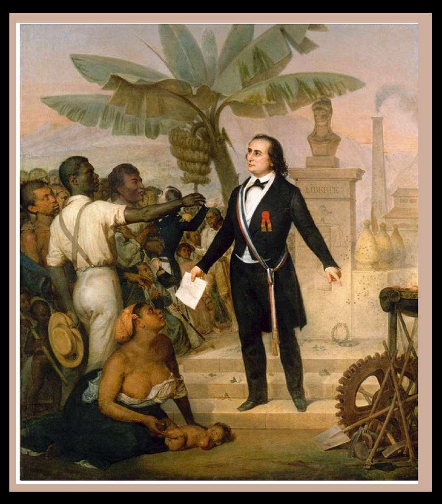 """Tableau """"L'émancipation à la Réunion"""", par Alphonse Garreau, 20 octobre 1848. Musée du Quai Branly, Paris. © RMN - Grand Palais / J. G. Berizzi."""