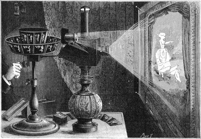 Le praxinoscope à projection d'Émile Reynaud en 1882. © Louis Poyet, Wikimedia Commons, DP
