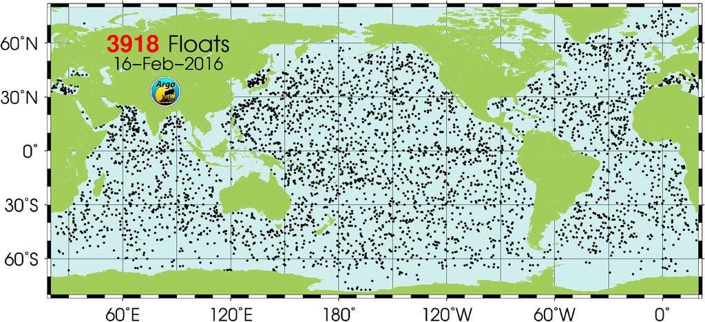 Position des sondes Argo opérationnelles en ce début d'année 2016. On compte au moins une sonde par zone de 300 km de côté entre 60 °N et 60 °S depuis novembre 2007. © Argo Information Center/JCOMMOPS