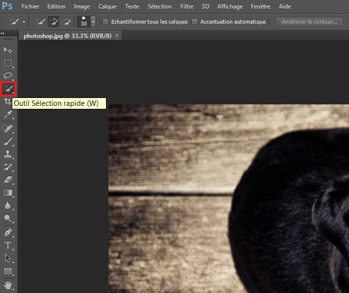 Choisissez l'outil de sélection rapide dans la barre d'outils. © Adobe