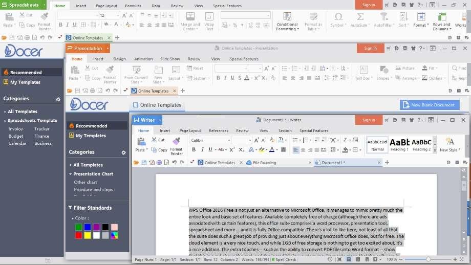 WPS Office est une suite bureautique complète dont la taille est inférieure à 80 Mo ! © Kingsoft Office Software