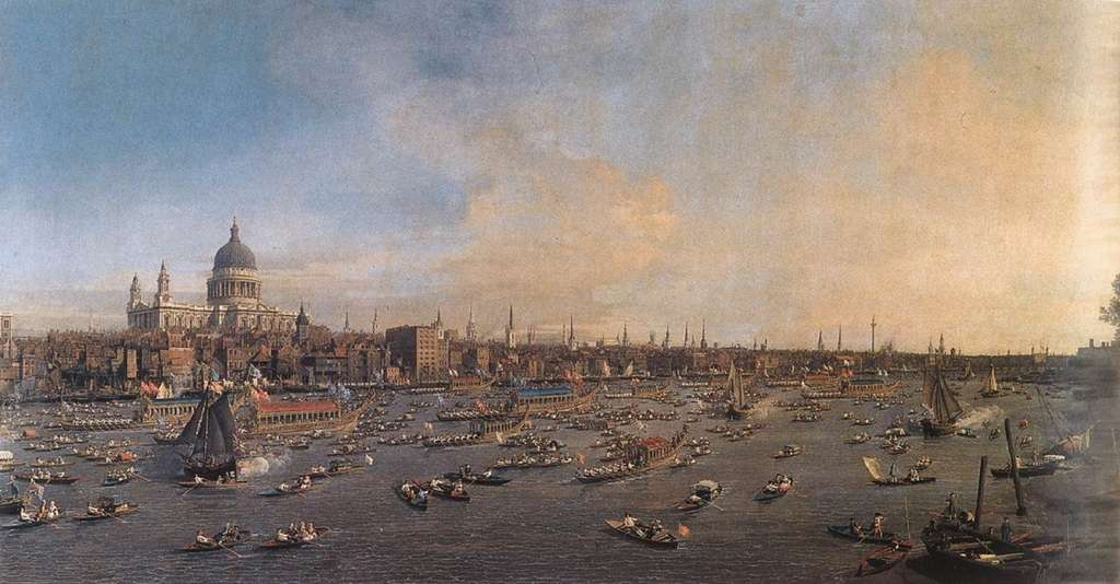 La Tamise et la City de Londres par Canaletto en 1746-1747. Galerie Nationale de Prague. © Wikimedia Commons, domaine public
