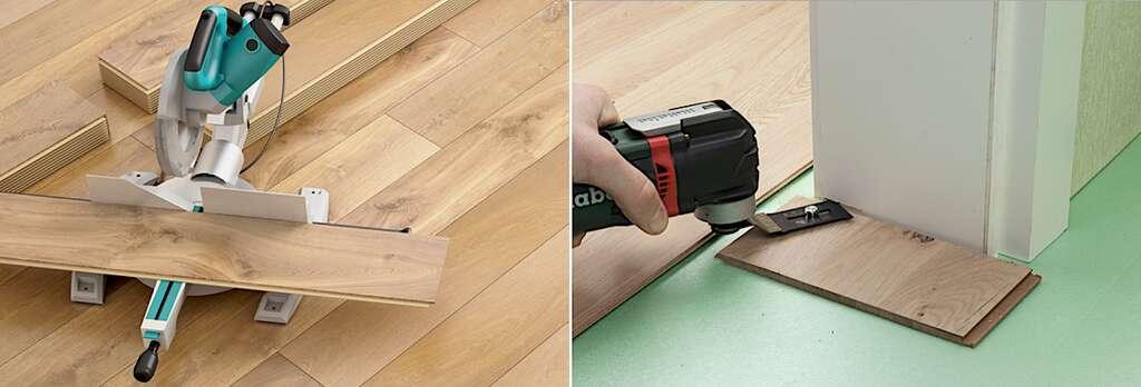 La scie à onglet à poste fixe est idéale pour exécuter les coupes droites en série. Au niveau des nez de cloison ou des chambranles de porte, une astuce consiste à glisser la lame de parquet dans une entaille profonde de 10 mm environ. Vous pouvez la creuser avec une scie à main ou, plus pratique, un outil multifonction en appui sur une chute de parquet. © Protat (photo de gauche), Wolfcraft (photo de droite)