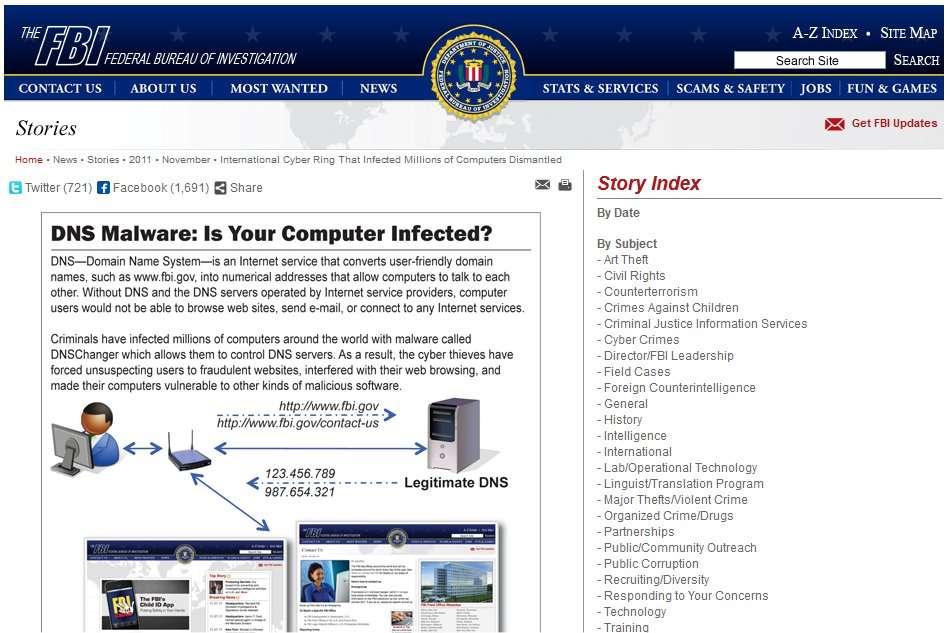 Sur son site, le FBI explique l'affaire, née après l'arrestation de pirates de nationalité estonienne. D'après la justice, le FBI a jusqu'au 8 mars 2012 pour fermer les serveurs frauduleux. © FBI
