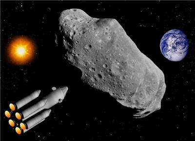 Une vue d'artiste d'un porteur de charges nucléaires pour pulvériser un astéroïde menaçant. © DR