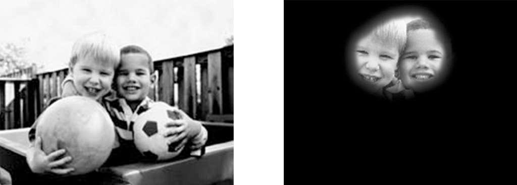 La vision tunnel (à droite) est la perte de vision périphérique, avec rétention de la vision centrale, résultant en une vision circonscrite et circulaire du champ de vision. © Domaine public, US gov.