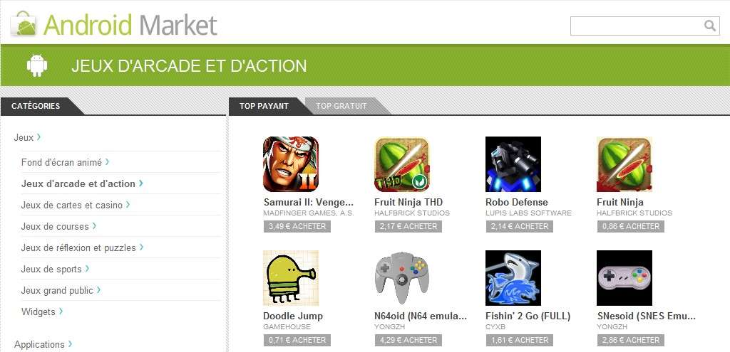 Une cinquantaine d'applications de l'Android Market ont été infectées par un cheval de Troie baptisé DreamDroid. © Google