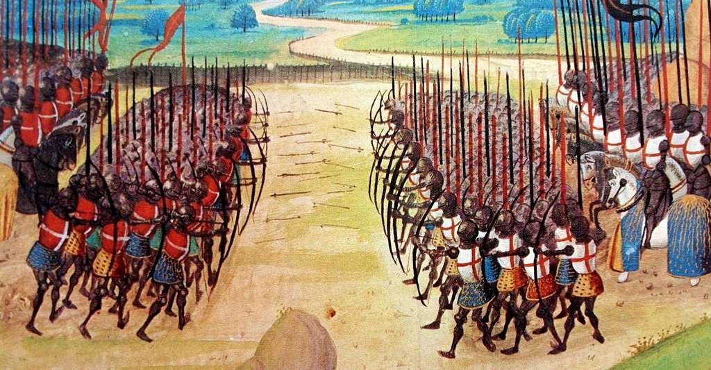 La bataille d'Azincourt est la plus grave défaite française de la guerre de Cent Ans (1415). © Chroniques d'Enguerrand de Monstrelet, Wikimedia Commons, DP
