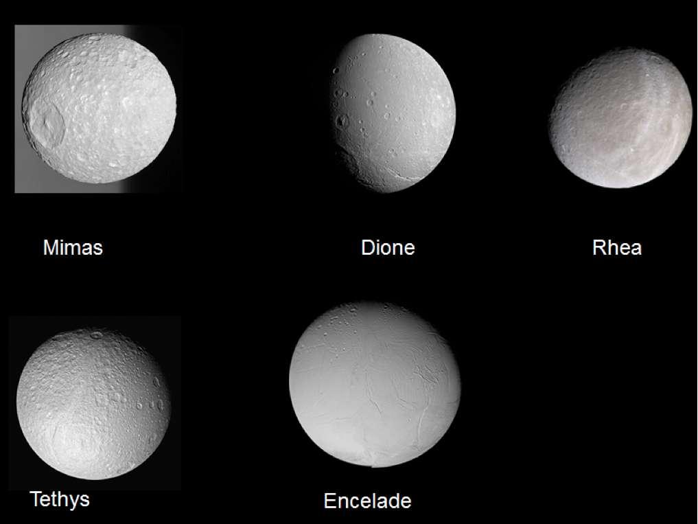Les 5 principales lunes glacées de Saturne. On vient peut-être de comprendre leur origine à partir des anneaux de la planète. © Nasa